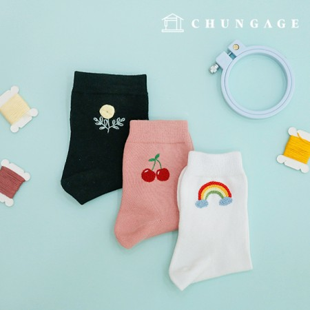French Embroidery Package Flower DIY Kit Men and Women Embroidery Socks Black White Pink 3 Pieces CH-560201C Hobby at Home