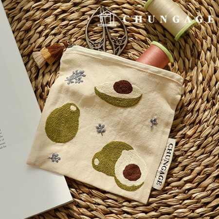 French Embroidery Package DIY Kit Avocado Pouch CH-560116 Hobby at Home