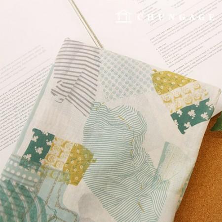 Linen Fabric Wide Linen Linen Fabric Green Patch