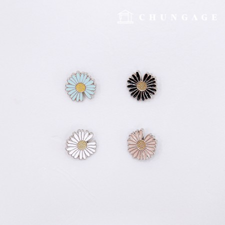 Epoxy button decoration button daisy flower (4 pieces / 4 types)