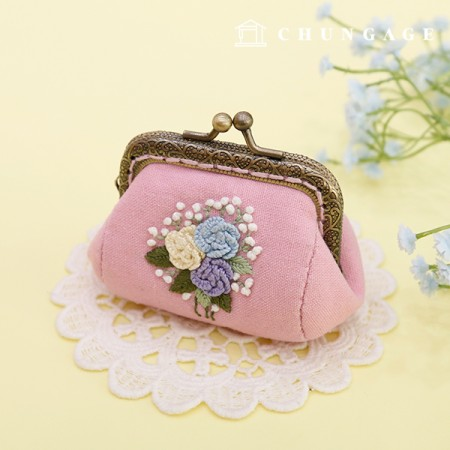 French Embroidery Package Flower DIY Kit Rose Pom Pong Coin Purse Pink CH-511860A Hobby at Home