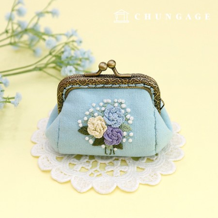 French Embroidery Package Flower DIY Kit Rose Pompon Coin Purse Blue CH-511860B Hobby at Home