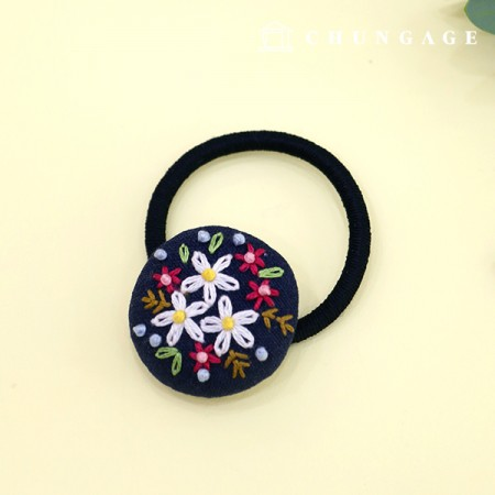 French Embroidery Package Flower DIY Kit Spring Flower Hair Drops Navy CH-512568A Hobby at Home
