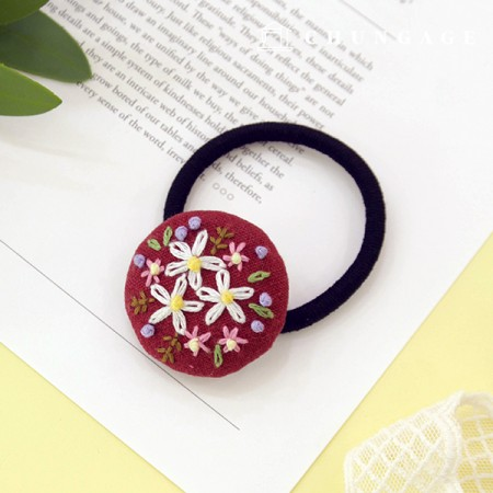 French Embroidery Package Flower DIY Kit Spring Flower Hair Drops Burgundy CH-512568B Hobby at Home