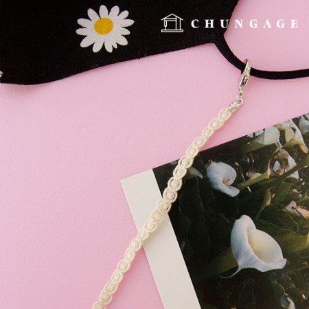 Mask line necklace, cotton lace dongle is natural