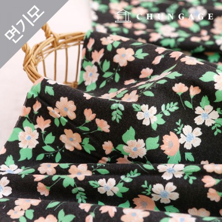 Cotton brushed microfiber fabric Retro Flower