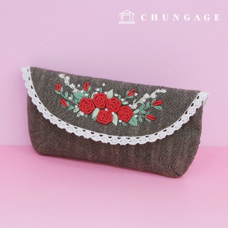 French Embroidery Package Flower DIY Kit Rose Garden Glasses Pouch CH-560129 Hobby at Home