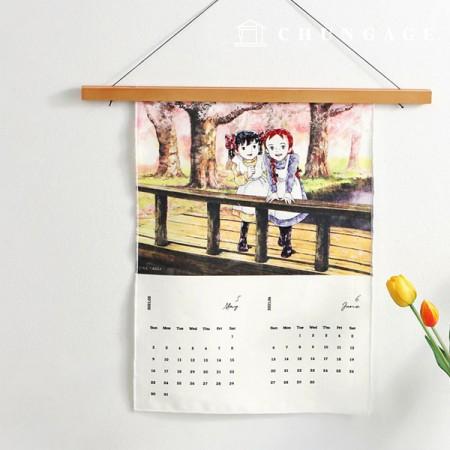 Red Hair & Fabric Cotton Linen 2021 Calendar Cut Paper English Version B