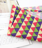 Cotton blends), three kinds of colorful triangles (Beige) [2335]