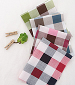 Cotton blend) simple checks four kinds (Red) [2903]