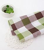 Cotton blend) simple checks four kinds (Green) [2904]