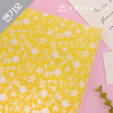 Cotton brushed microfiber fabric Yellow Garden