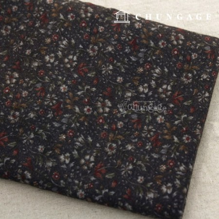 [30% discount 3 Hermp] Significantly-Cotton brushed fabric) Burgundy Flower (Brown)