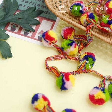Cotton Bubble Lace Pom Pom E Lace Color Mix Rainbow 2Hermp