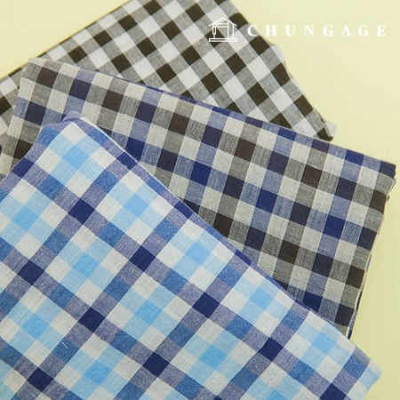 Linen Wide Fabric Line-dyed Cotton Linen Washing Check Fabric Mono Check 3 types