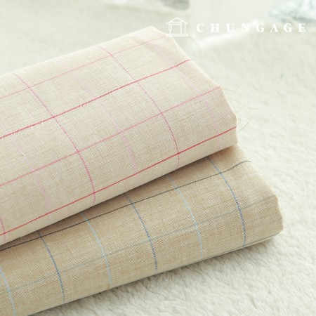 2 types of large linen dyed simple check fabric