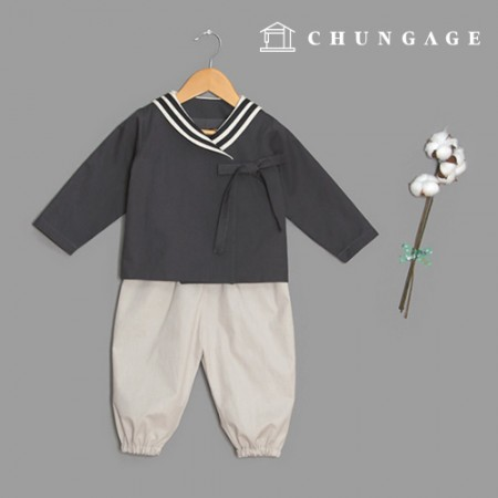 Clothing Pattern Children Hanbok Style Top and Bottom Set Pants Saint Collar P1488