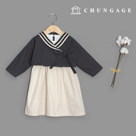 Clothes Pattern Children Hanbok Style Top and Bottom Set Skirt Two Piece Saint Collar P1480