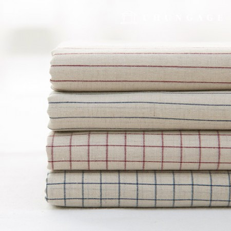 Ombre Washing Linen Check Stripe Fabric Vintage Check French 4 types