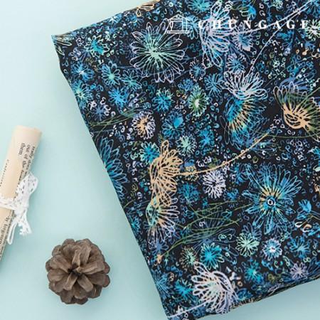 Rayon Silk Fabric Wide Summer Fabric Deep Sea Blue