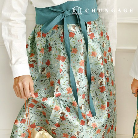 Hanbok Fabric Bird Nap Poly Hanbok Cloth Cheollick Flower Floral Pattern Mint 053