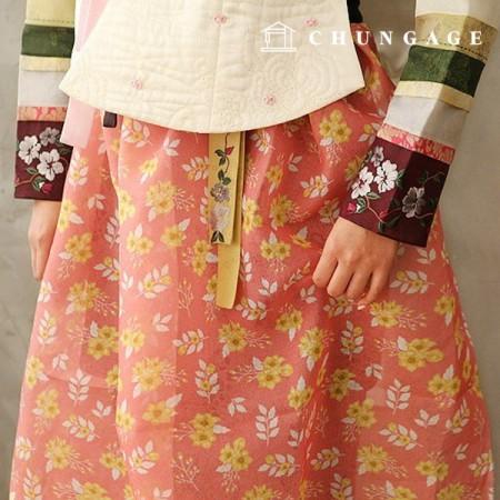 Hanbok Fabric Pure Poly Hanbok Cloth Cheollick Flower Floral Pattern Pink 034