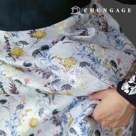 Hanbok Fabric Hanahreum Poly Hanbok Cloth Cheollick Flower Floral Pattern 063