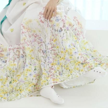 Hanbok Fabric Rev Poly Hanbok Cloth Cheollick Flower Floral Pattern 071