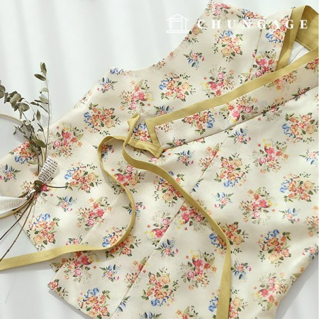 Hanbok Fabric Primula Poly Hanbok Cloth Cheollick Flower Floral Pattern 076