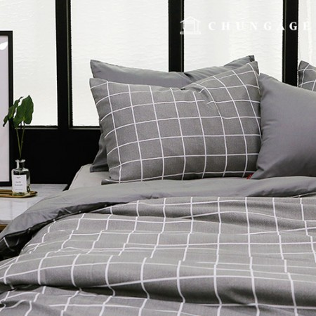 Wide Check Poly Quilt Fabric Melan Gray Check 800