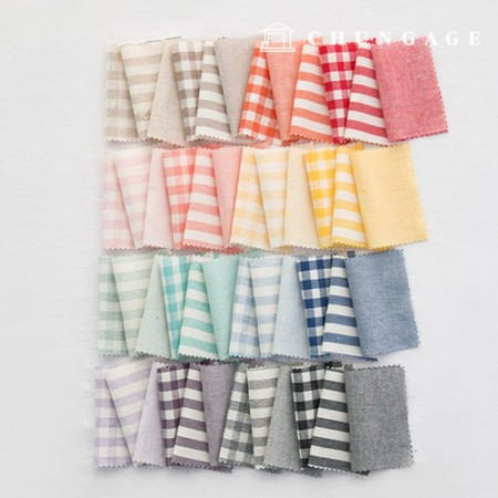 Check Fabric Cotton Melange Ombre Washing Large Vintage Check Cloth Stripe 48 Types