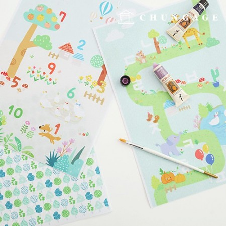 Felt Paper DTP Playground Non-Adhesive Animal Pattern Felt Paper 2 types