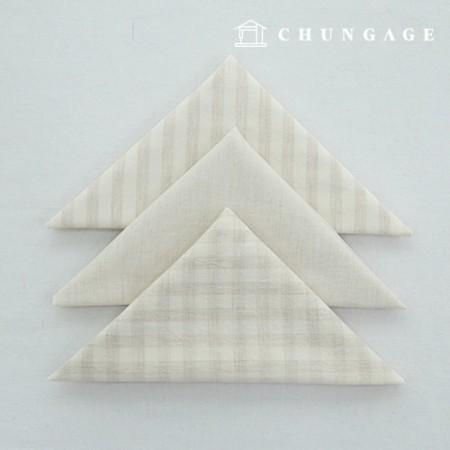 Fabric Package Cotton Fabric Washing Check Stripe Melan Series 1/8Hermp 3 Pack Natural