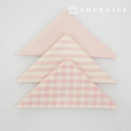 Fabric Package Cotton Fabric Washing Check Stripe Melan Series 1/8Hermp 3 Pack babypink