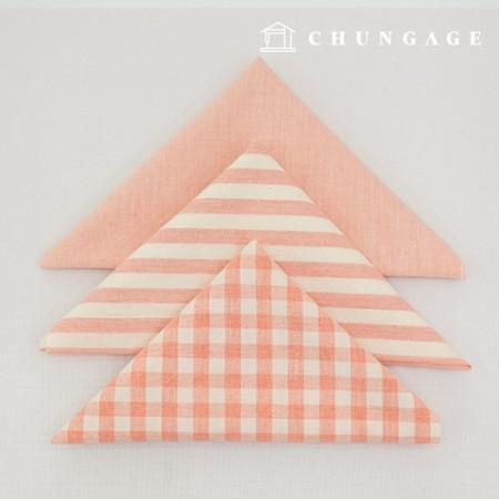Fabric Package Cotton Fabric Washing Check Stripe Melan Series 1/8 Hermp 3 Pack Jin Pink