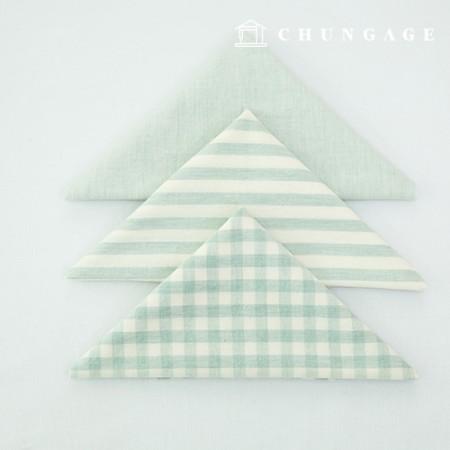 Fabric Package Cotton Fabric Washing Check Stripe Melan Series 1/8Hermp 3 Pack Mint