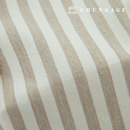 Stripe Fabric Cotton Melange Ombre Washing Wide Vintage Beige Stripe 411