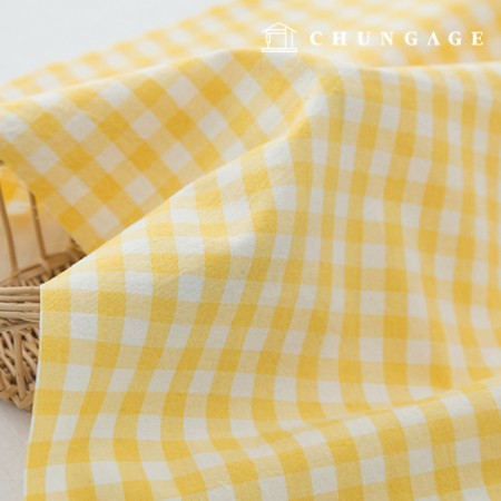 Check Fabric Cotton Melange Ombre Washing Significantly Vintage Check Fabric Yellow Check 433-1