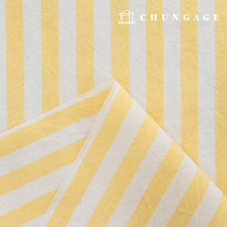 Stripe Fabric Cotton Melange Ombre Washing Wide Vintage Yellow Stripe 433-2