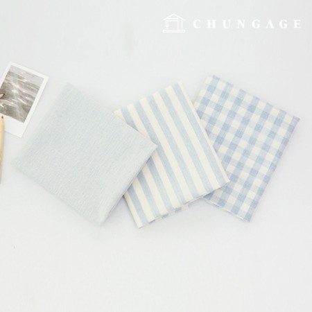 Cotton Fabric Melange Ombre Washing Fabric Wide Vintage Check Stripe Plain 3 Types Sky Blue