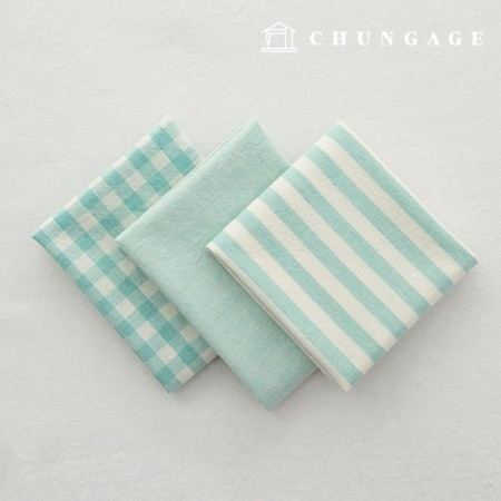 Cotton Fabric Melange Ombre Washing Fabric Wide Vintage Check Stripe 3 types of plain jade
