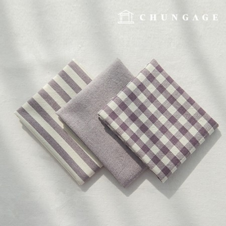 Cotton Fabric Melange Ombre Washing Fabric Large Vintage Check Stripe Plain 3 Types Jinbora