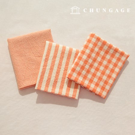Cotton Fabric Melange Ombre Washing Fabric Wide Vintage Check Stripe Plain 3 Types Orange