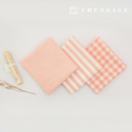 Cotton Fabric Melange Ombre Washing Fabric Wide Vintage Check Stripe Plain 3 Types Jean Pink