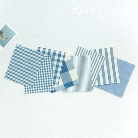 Cotton Check Fabric 20 Count Ombre Dyed Terminated Plain Stripe Gingham Check Fabric Blue 8 Types