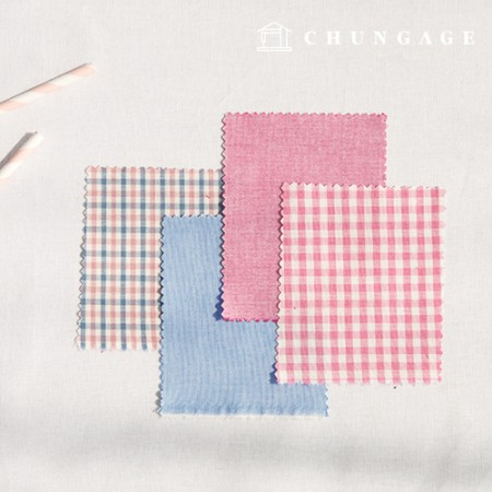Cotton Check Fabric 20 Count Ombre Dyed Clear Plain Gingham Check Fabric Pink Blue 4 Types