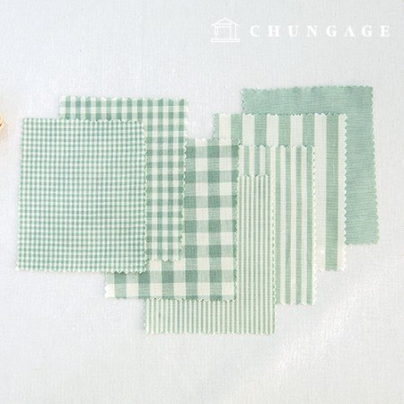 Cotton Check Fabric 20 Count Ombre Dyed Terminated Plain Stripe Gingham Check Fabric Mint 7 Types