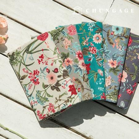 Linen 11-thread-width fabric, 5 mini gerbera