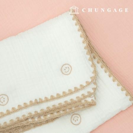 Triple Gauze Embroidery Yoru Fabric Cotton Non-Fluorescent Fabric Happy Face E027