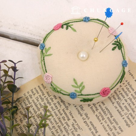 French Embroidery Package Flower DIY Kit Bijou Pin Cushion CH-560205 Homemade Hobby